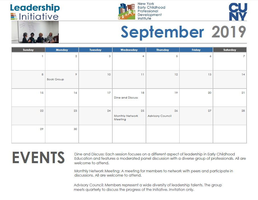Cuny Calendar 2020 PDI | Leadership Initiative | Home